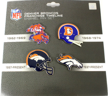 Denver Broncos Logo / Helmet Evolution Pin Set