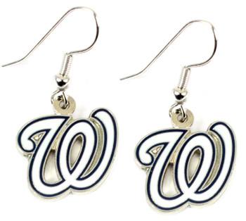 Washington Nationals Logo Earrings - White