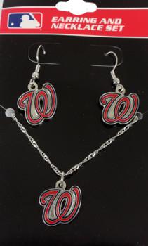 Washington Nationals Earrings & Necklace Combo