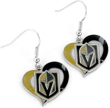 Vegas Golden Knights Swirl Heart Earrings