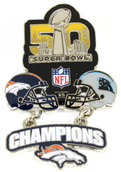 Super Bowl L (50) Oversized Commemorative Pin - Dangler Style