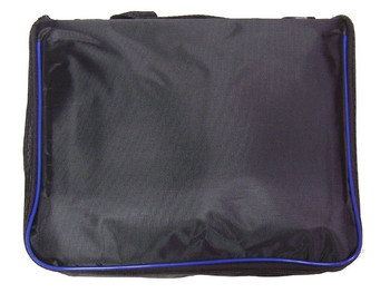 Large Collector Lapel Pin Bag - 3 Page Black w/ Blue Piping