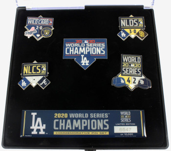 Los Angeles Dodgers 2020 World Series Champs Five Pin Set - Limited 10,000