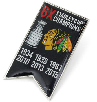 Chicago Blackhawks 6-Time Stanley Cup Champs Pin