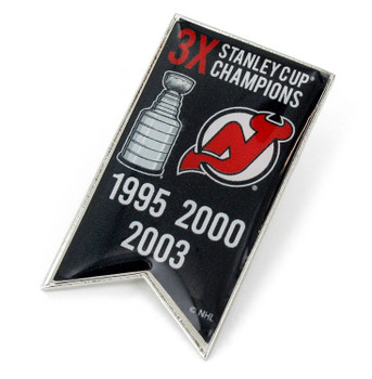 New Jersey Devils 3-Time Stanley Cup Champs Pin
