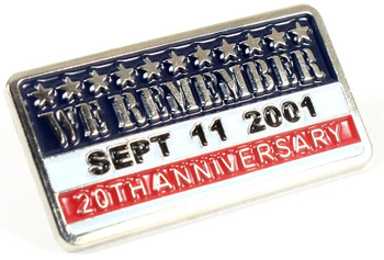 We Remember - September 11th Twentieth Anniversary Pin - Silver