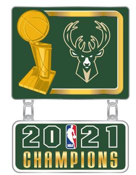 Milwaukee Bucks 2021 NBA Champions Dangler Double Pin