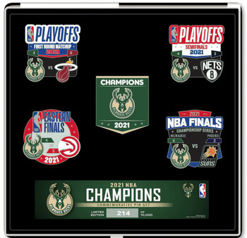 Milwaukee Bucks 2021 NBA Champions Five Pin Set - Limited 10,000