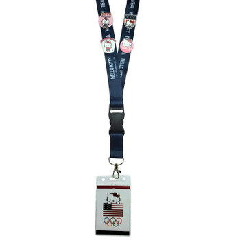 Team USA Hello Kitty 2-Sided Lanyard SET w/ 4-Pins and Insert Card with Hologram
