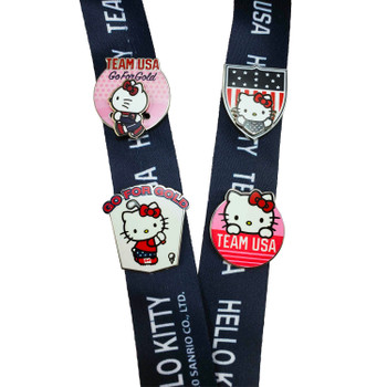 Team USA Hello Kitty 2-Sided Lanyard Pin Set w/ 4-Pins and Insert Card with Hologram