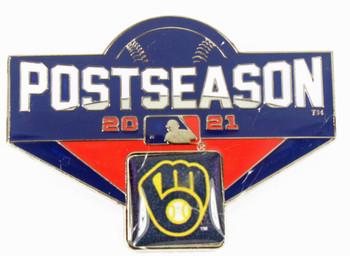 "Milwaukee Brewers 2021 Post Season Oversized Pin - 1.75"""