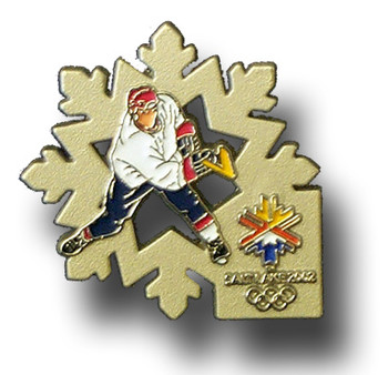 Salt Lake City 2002 Olympics Hockey Flake Pin