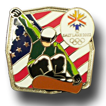 Salt Lake City 2002 Snowboard Patriotic Pin
