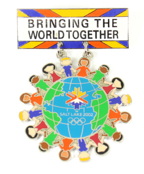 Salt Lake City 2002 Olympics - Bringing The World Together Pin - Silver Edition