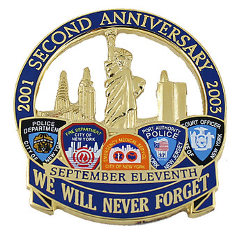 September 11th Anniversary Pin - We Will Never Forget