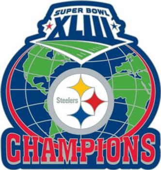 Super Bowl XLIII (43) Pittsburgh Steelers Champs Globe Pin