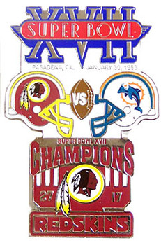 Super Bowl XVII (17) Oversized Commemorative Pin
