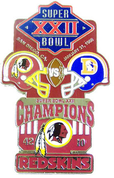 Super Bowl XXII (22) Oversized Commemorative Pin