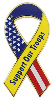 Support Our Troops Patriotic Ribbon Pin