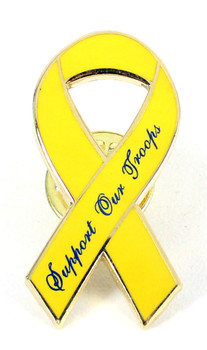 Support Our Troops Yellow Ribbon Pin