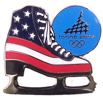 Torino 2006 Olympics American Flag Figure Skate Olympic Pin