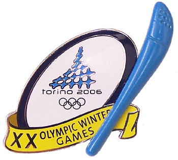 Torino 2006 Olympics 3D Torch Double Pin