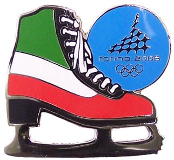Torino 2006 Olympics Italian Flag Figure Skate Pin