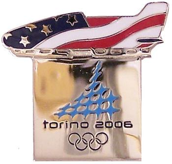 Torino 2006 Olympics USA Bobsled Pin