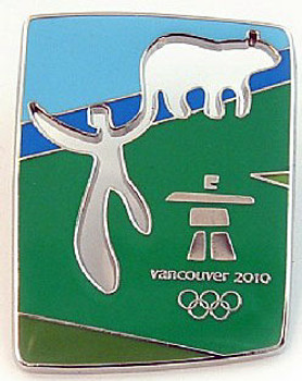 Vancouver 2010 Olympics Cut Out Bear Pin