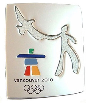 Vancouver 2010 Olympics Eagle & Man Stone Pin