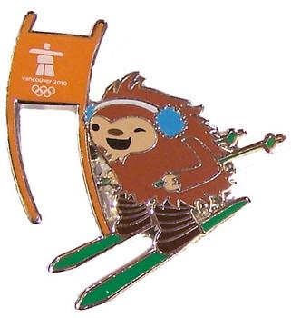 Vancouver 2010 Olympics Quatchi Alpine Skiing Mascot Pin