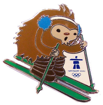 Vancouver 2010 Olympics Quatchi Free Style Moguls Skiing Pin