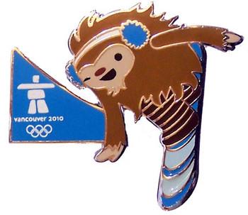 Vancouver 2010 Olympics Quatchi Snowboard Pin