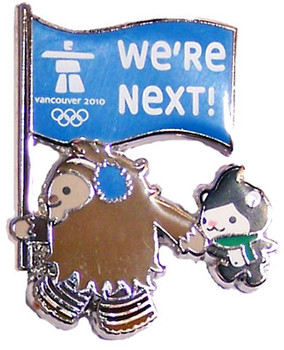 "Vancouver 2010 Olympics ""We're Next"" Mascot Olympic Pin"