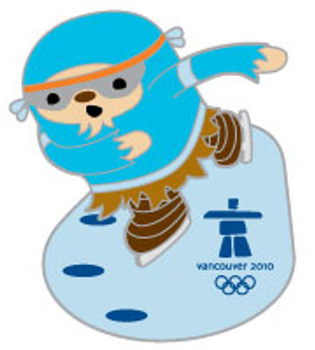 Vancouver 2010 Olympics Quatchi Speed Skating Pin