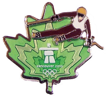 Vancouver 2010 Olympics Clear Green Leaf Skier Pin