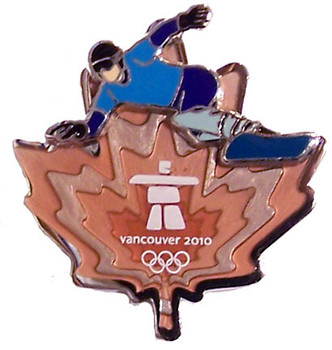 Vancouver 2010 Olympics Clear Orange Leaf Snowboard Pin