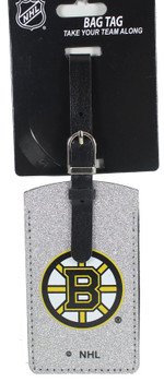 Boston Bruins Leatherette Silver Sparkle Luggage Tag