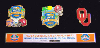 2009 BCS Championship Commemorative Pin Set - Oklahoma