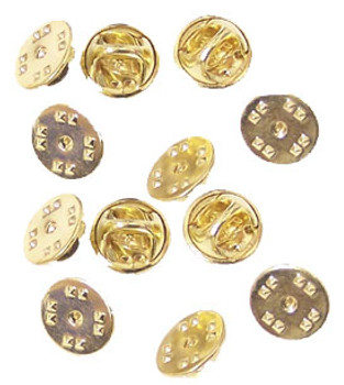Gold Military Clutch Pin Backs - Set of 12