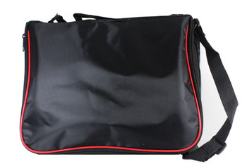 Large Collector Lapel Pin Bag - 3 Page Black w/ Red Piping