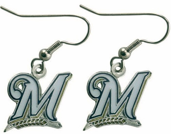 Milwaukee Brewers Earrings Silver