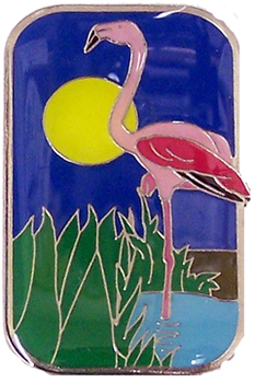 Pink Flamingo Brass Magnet