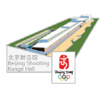 Beijing 2008 Olympics Shooting Range Hall Pin - Imported from Beijing