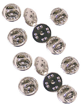 Silver Military Clutch Pin Backs - Set of 12