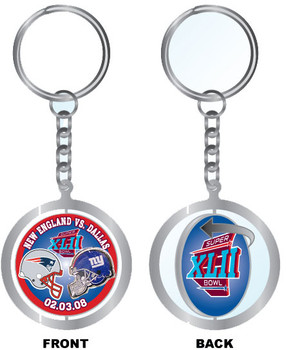Super Bowl XLII (42) Patriots vs. Giants Spinning Key Chain