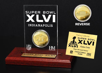 Super Bowl XLVI (46) 24KT Gold Flip Coin Desk Top Acrylic
