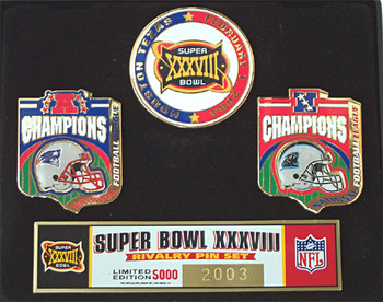 Super Bowl XXXVIII (38) Patriots vs Panthers Pin Set - Limited 5,000
