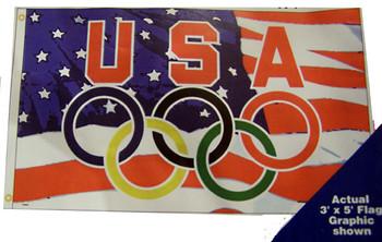 USOC OLYMPIC RINGS / AMERICAN FLAG- FLAG 3'X 5'