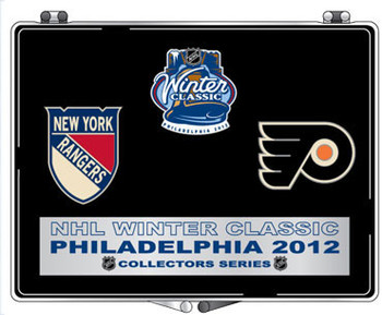 Winter Classic 2012 Rangers vs Flyers Pin Set / with Easel Stand